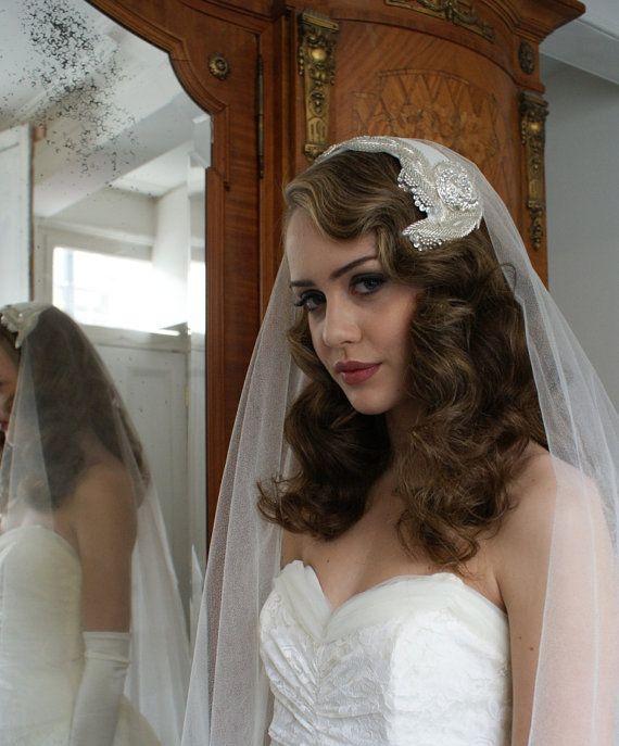 Silk Wedding Veil And Art Deco Headpiece Silver Screen Goddess