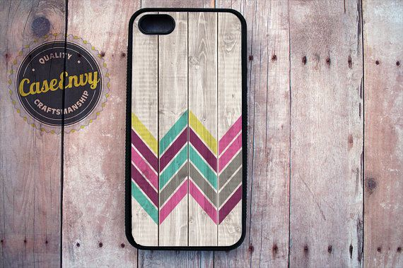 Lovely Chevron on Wood Pattern iPhone 5/5s Silicone by CaseEnvy