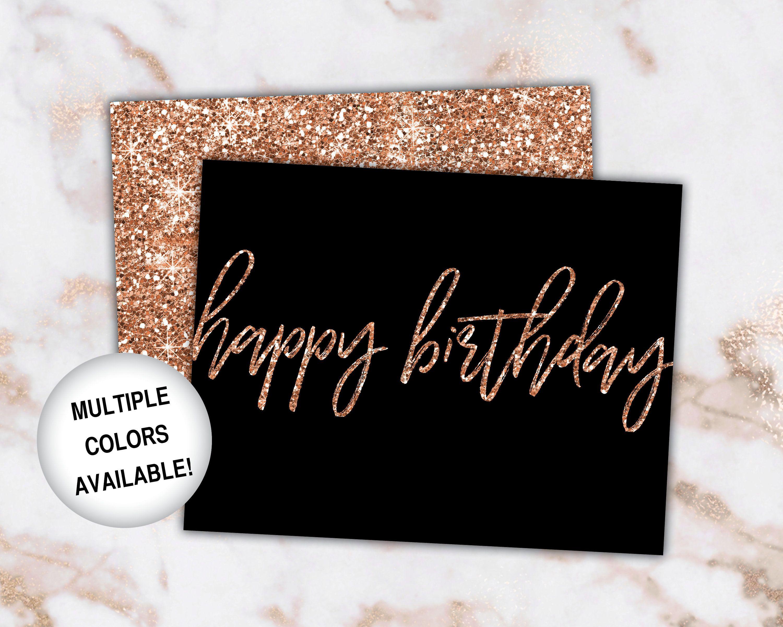 Printable Birthday Cards Rose Gold Birthday Cards Happy Birthday Card Template Rose Gold Glit Birthday Card Printable Birthday Card Template Birthday Cards