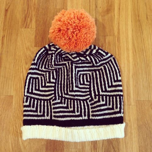 Optical illusion knit hat.