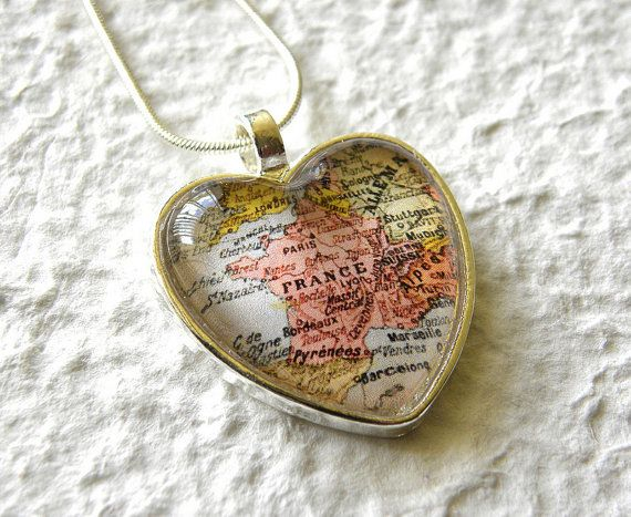 Custom map necklace heart shaped you pick the map great world traveler map heart shaped necklace choose your location 2000 via etsy gumiabroncs Images