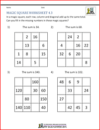 magic square puzzle  fill in the missing numbers to make a  by   magic square puzzle  fill in the missing numbers to make a  by  magic  square