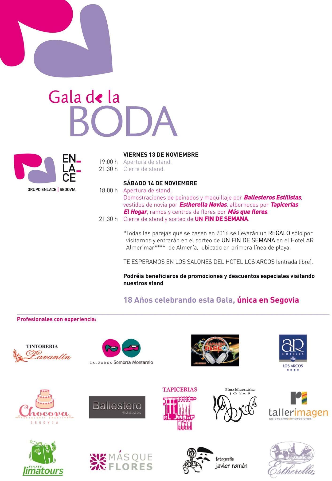 Programa #GaladelaBoda #Segovia, que se celebrará en el Hotel Los Arcos.