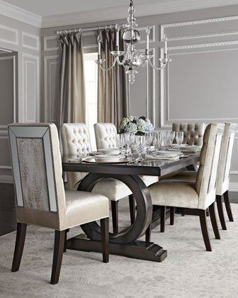 Attirant  67AQ Haute House Alden Trestle Dining Table Brittney Mirrored Dining Chair