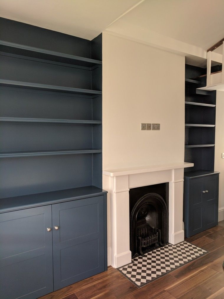 Alcove Shelves And Cupboards In Farrow Ball Stiffkey Blue Wall In Strong White Alcove Ideas Living Room Built In Cupboards Living Room Stiffkey Blue