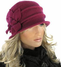 PR Leaf Flower Wool Elegant Women's Warm Winter Hat Ladies Cloche Fuchsia
