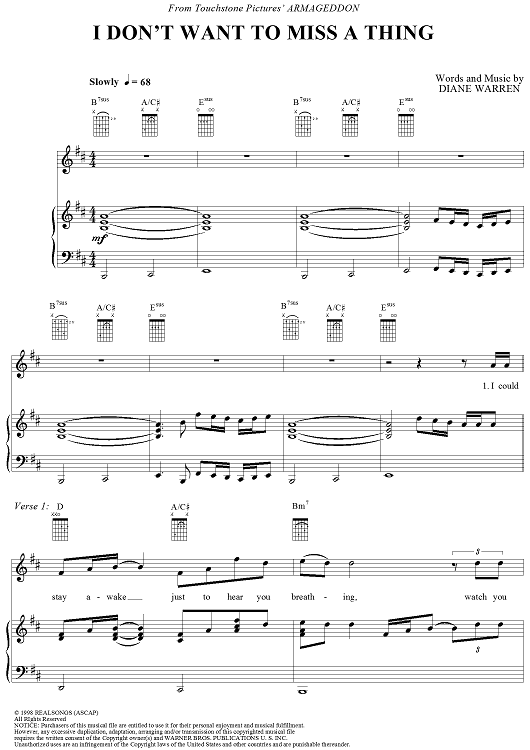 I Dont Want To Miss A Thing Sheet Music By Aerosmith Sheet Music