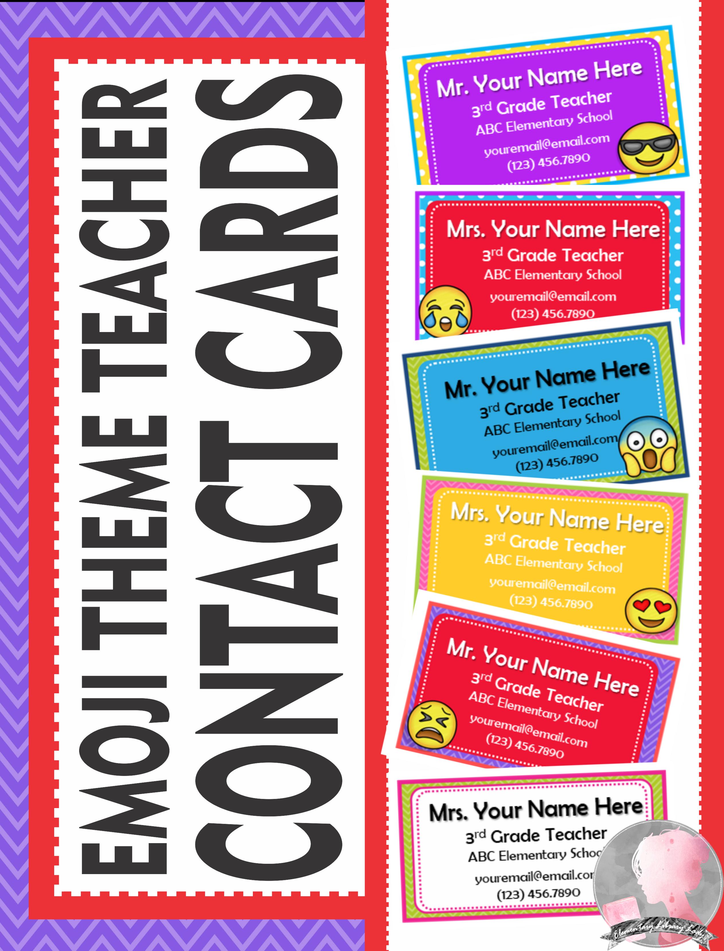 Teacher Contact Cards for Parents Introduction Emoji Theme
