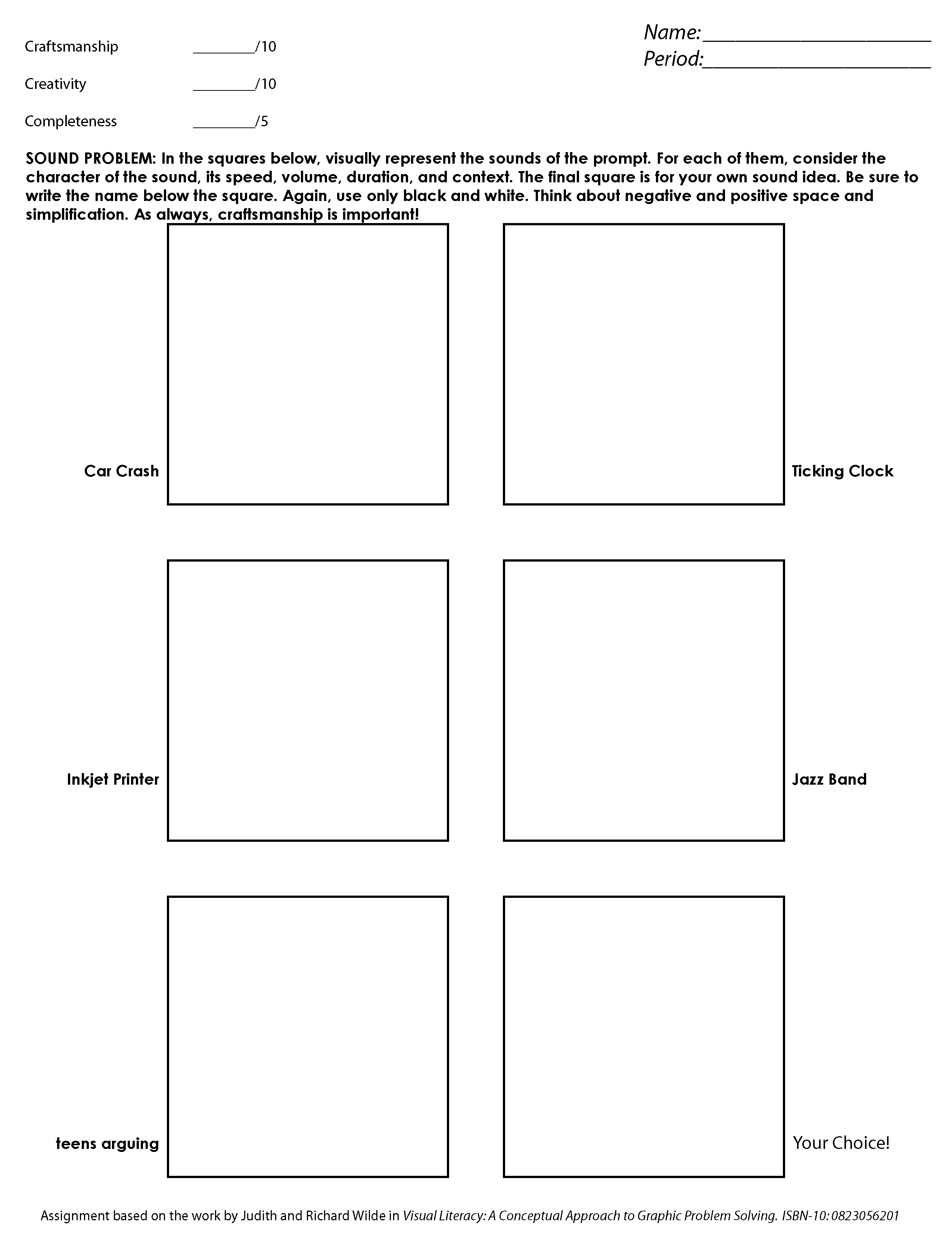 Visual Creativity Worksheet Sound Illustration Problem