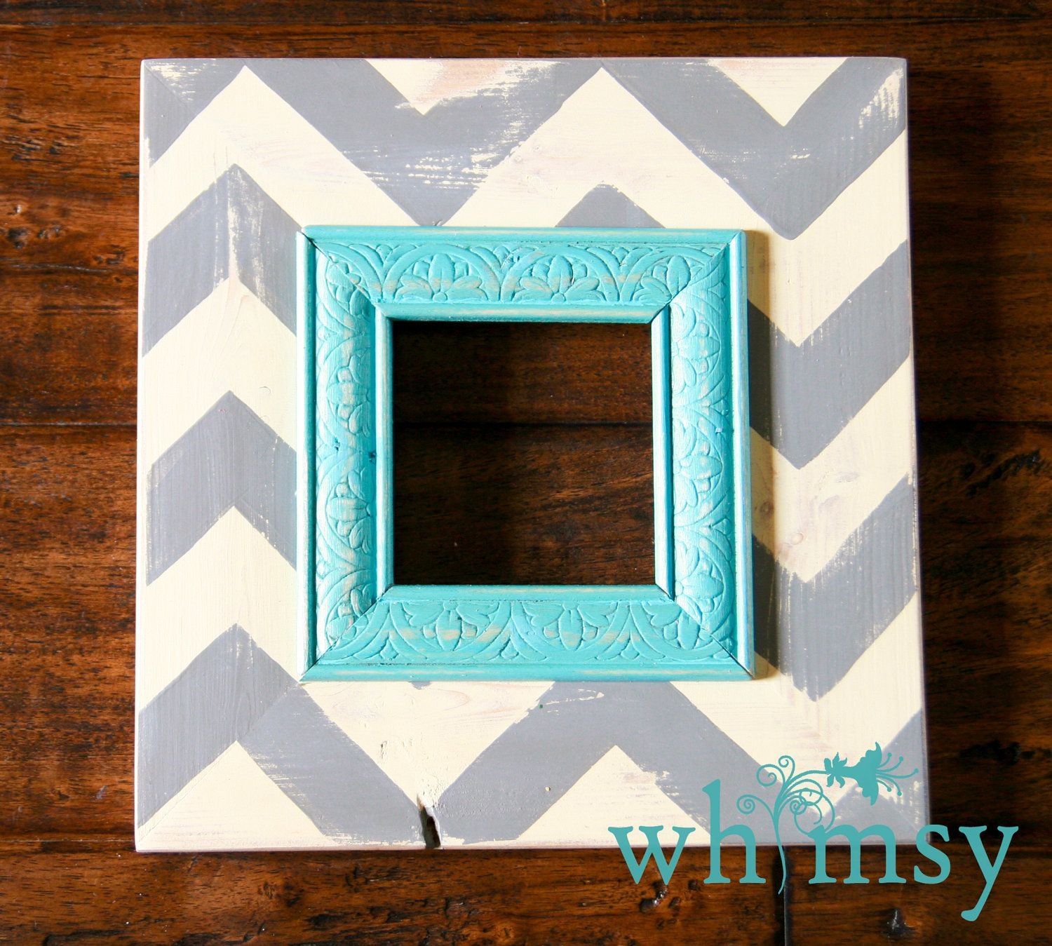 Love the colors on this one! Distressed Handmade Wood Picture Frame ...
