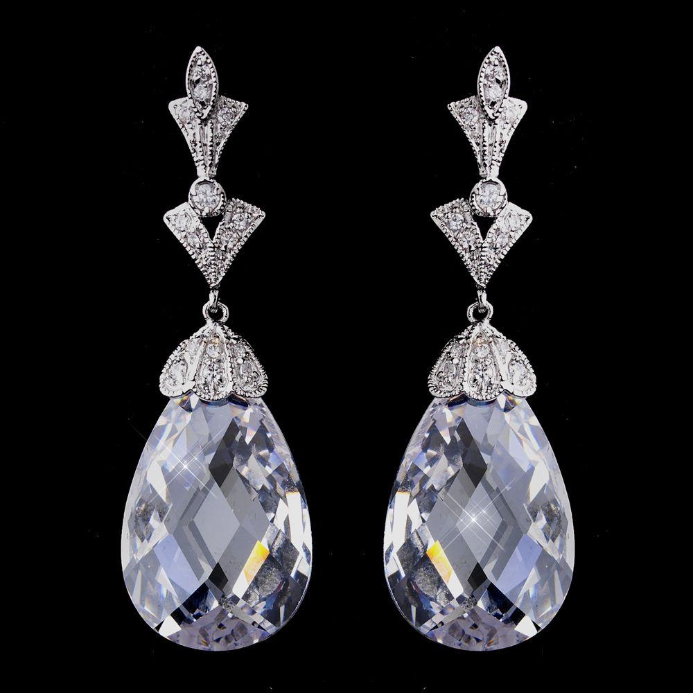 Antique Silver CZ Bridal Earrings - Affordable Elegance Bridal -