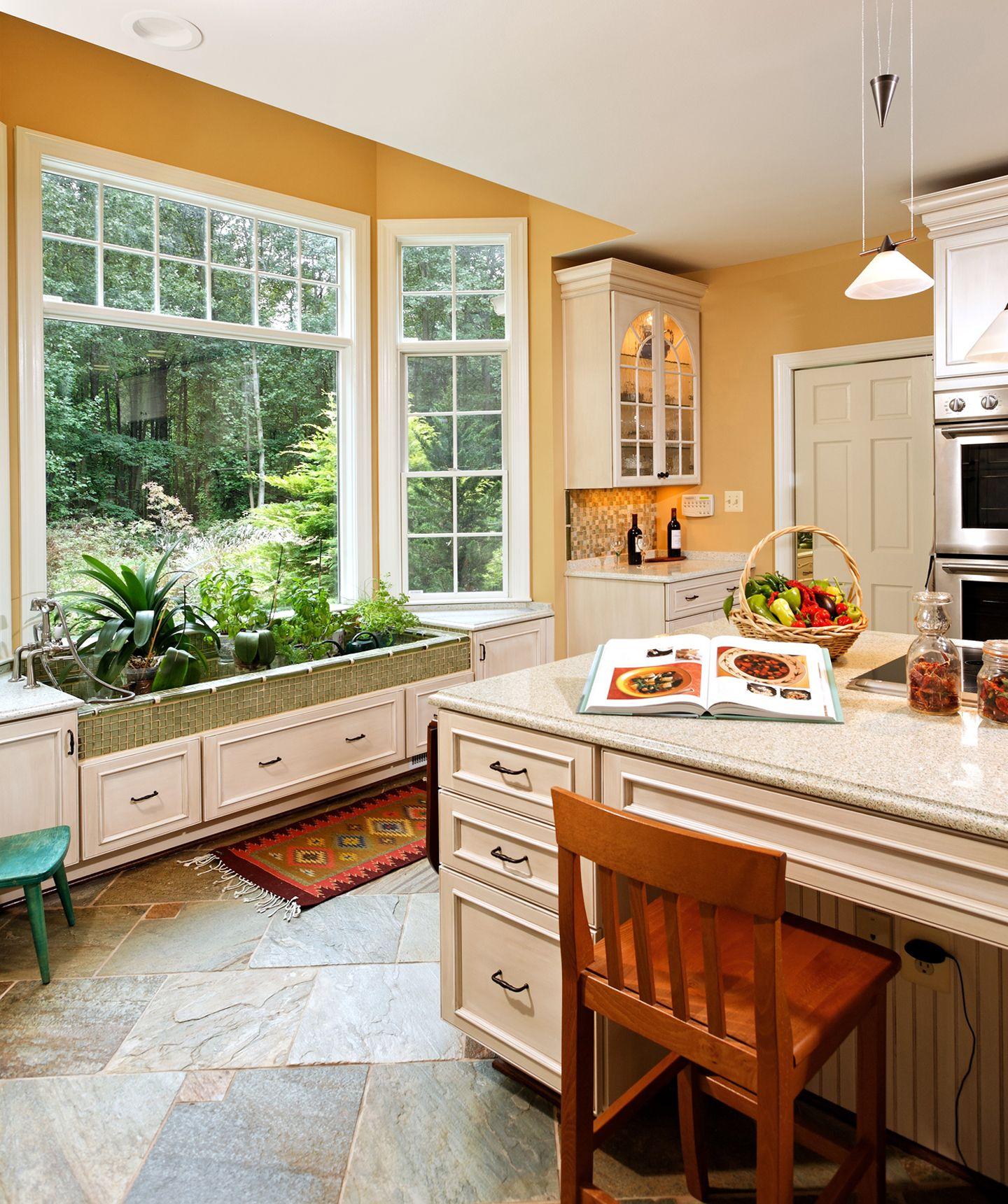 Built In Garden Sink In Bay Window--- Wonderful Idea