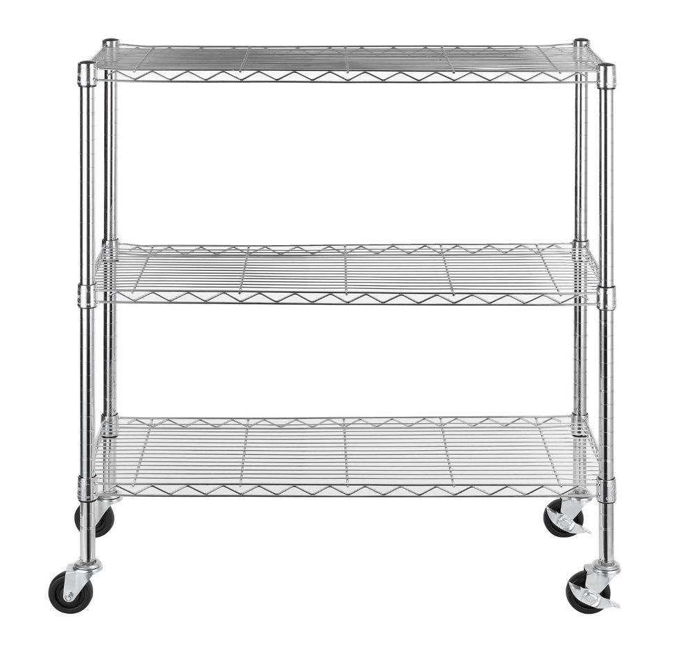 3-tier Wire Shelving Unit Rolling Cart Storage Shelves Garage ...