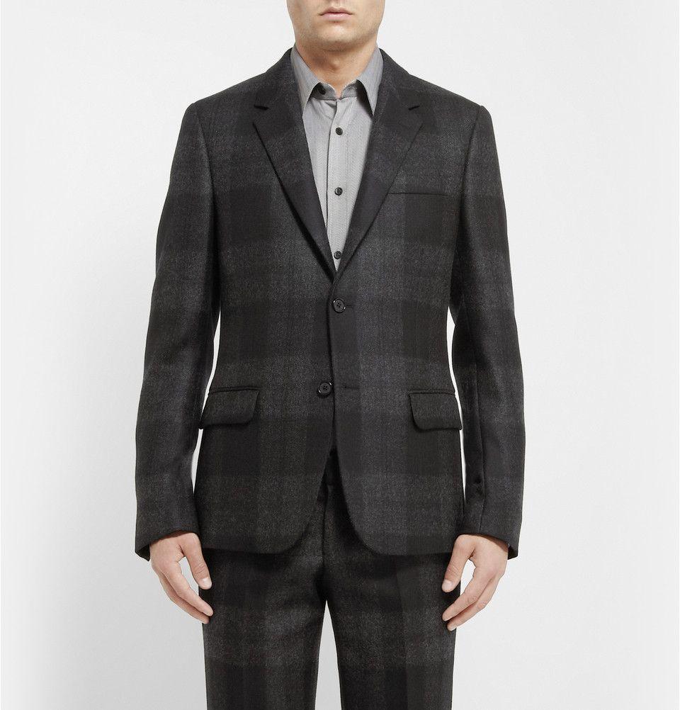 Alexander McQueen - Grey Slim-Fit Check Wool Suit Jacket|MR PORTER