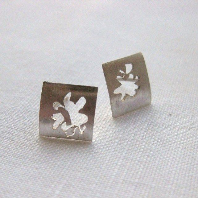 Silver Saw Pierced Single Allium Flower Studs £25.00  By Mikylla Claire Jewellery