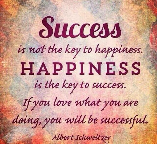 Quotes For Success And Happiness: Success Is Not The Key To Happiness #Happiness