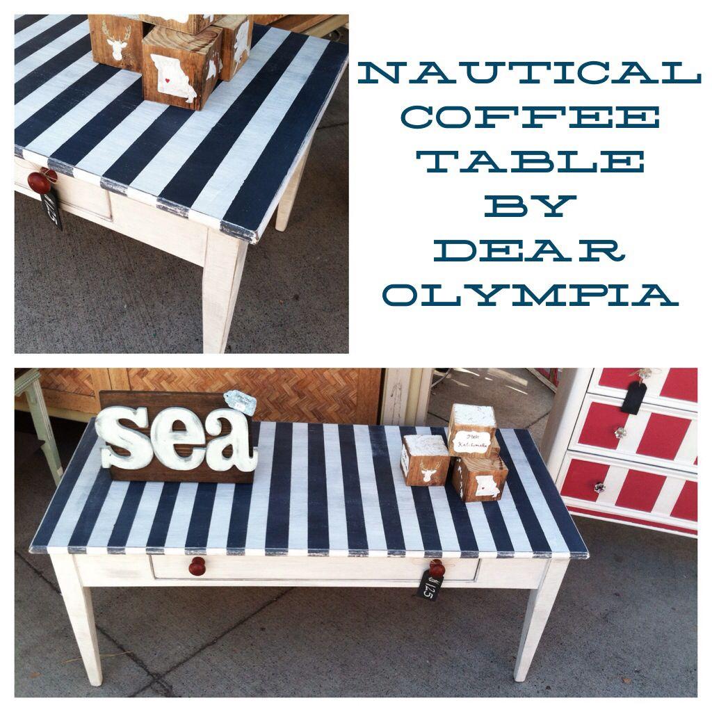 Beach Chic Coffee Table: Nautical Coffee Table / Beach Decor / CeCe Caldwell's