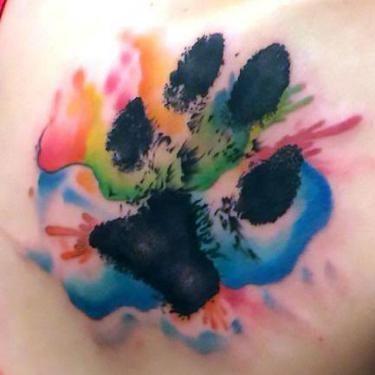Beautiful Watercolor Puppy Paw Print Tattoo Idea Dog Tattoos