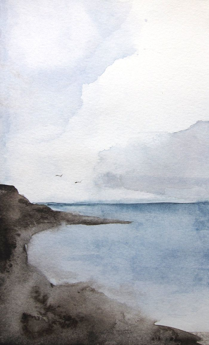 Sea Original 5x7 Watercolor Painting New From Mai Autumn Avec