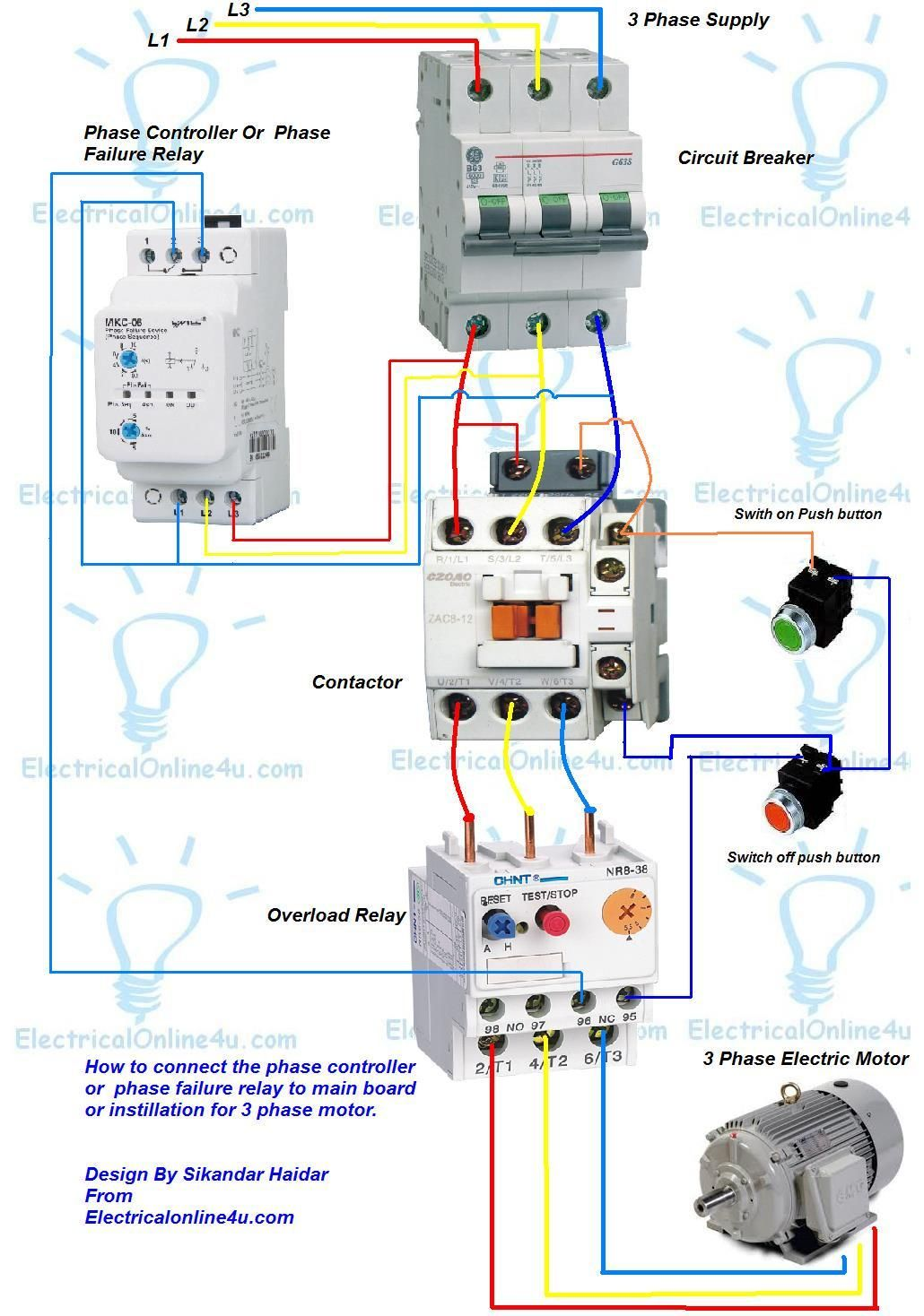 phase controller wiring phase failure relay diagram di on line rh pinterest  com 380v 3 phase motor wiring diagram