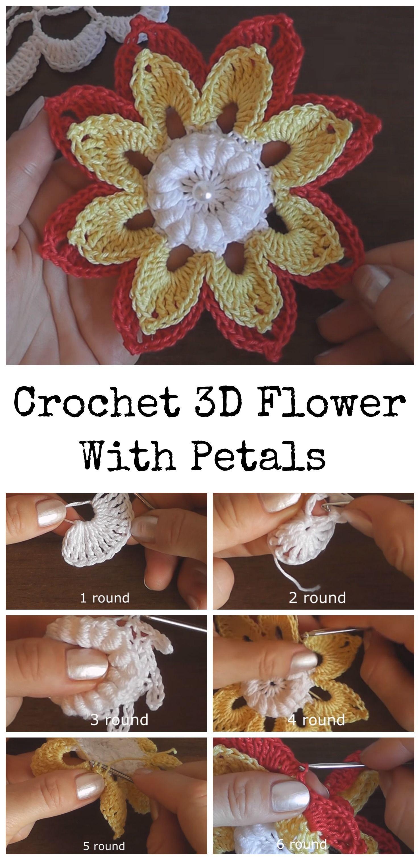 Crochet 3D Flower With Petals