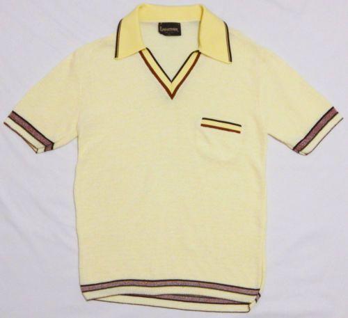 33da01af68 Vtg-70s-Men-039-s-LAHMAR-V-Neck-Polo -Shirt-MEDIUM-Yellow-MESH-Big-Collar-Ban-Lon