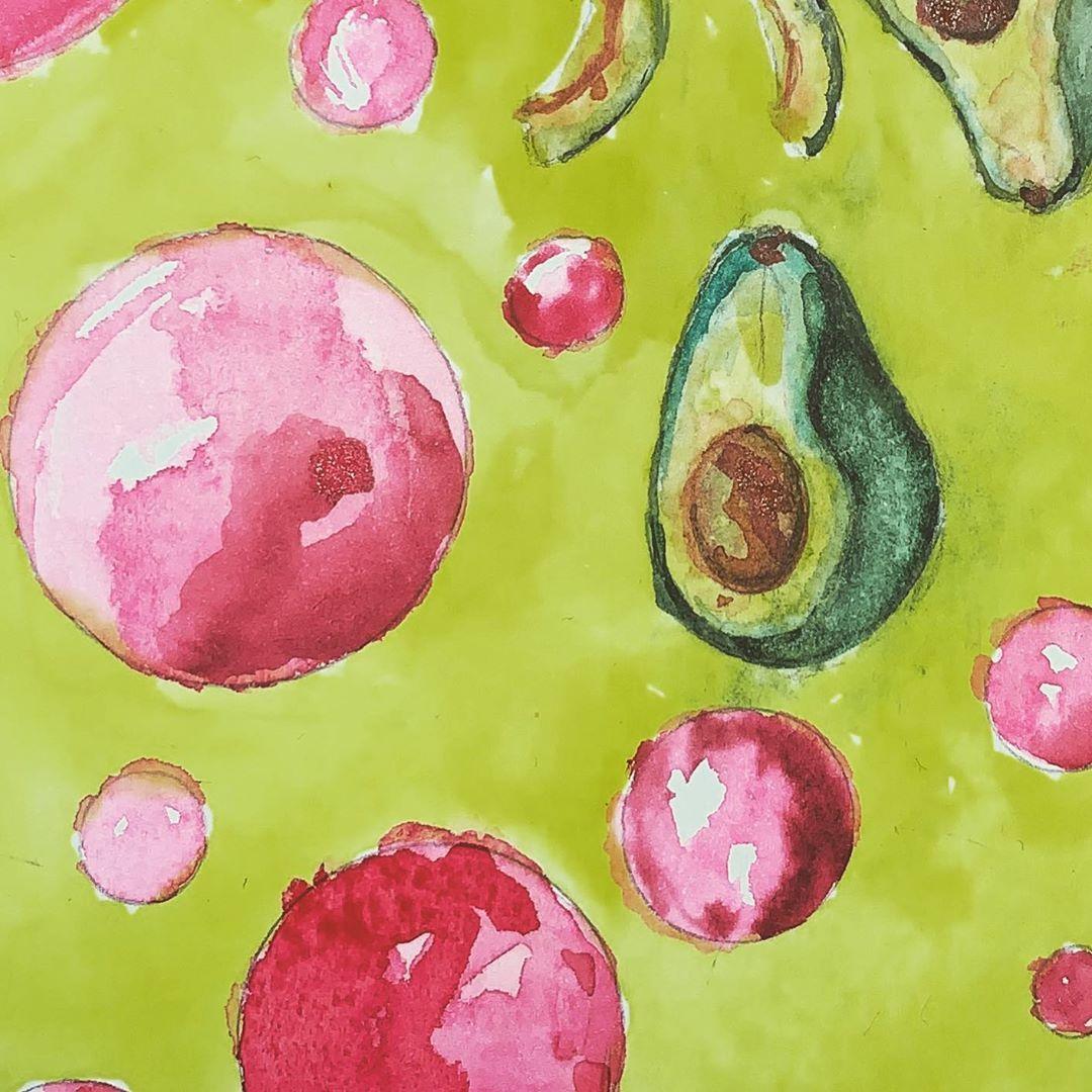 "Yosr Ouarghi on Instagram: ""Avocados and bubbles rain 🥑🥑🥑🥑🥑🥑🥑. #watercolor #watercolorpainting #watercolorillustration #watercolorart #watercolortattoo #aquarelle…"""