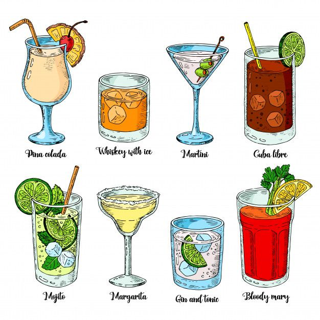 Alcoholic Drinks Set. Set Of Isolated Colorful Sketch Cocktails.