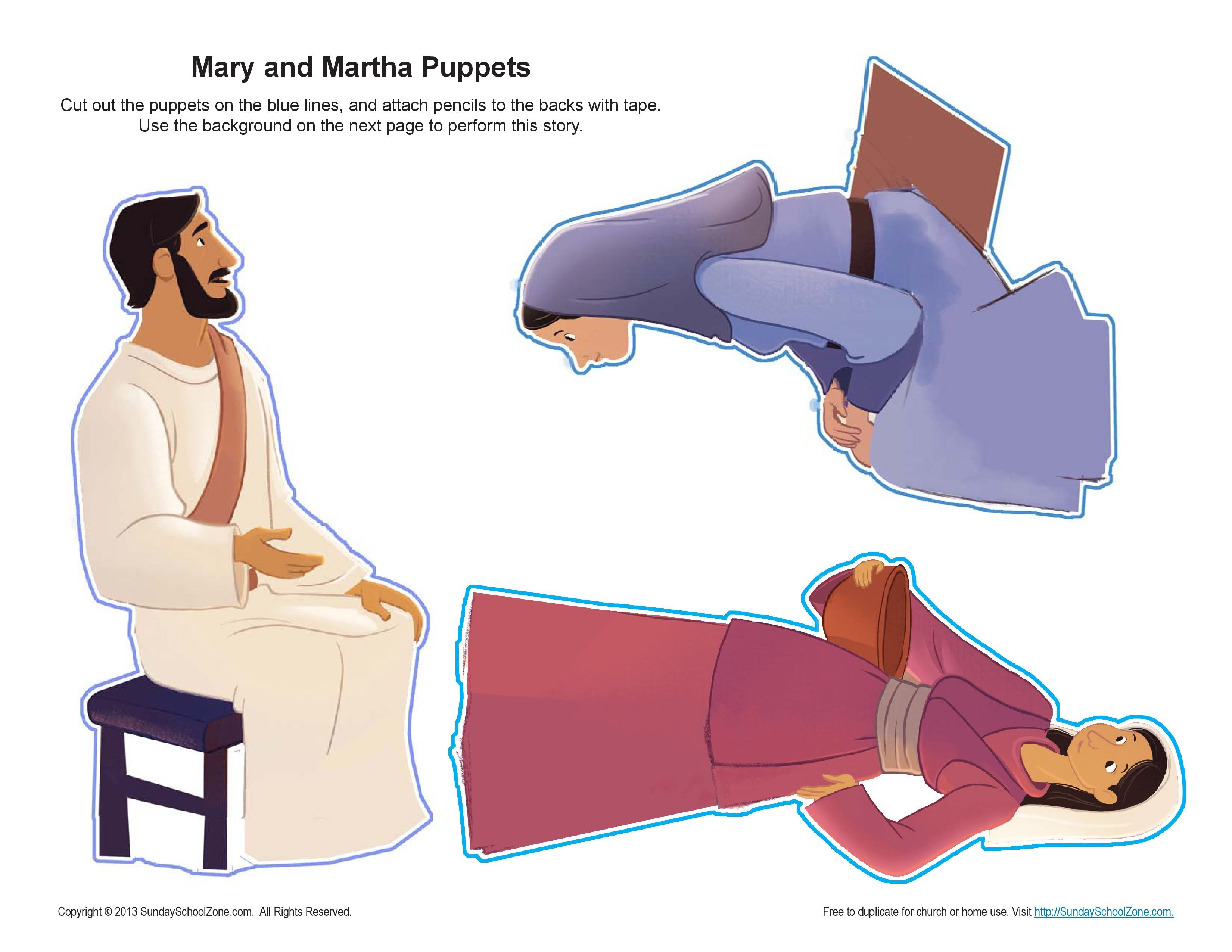 Mary And Martha Puppet Craft