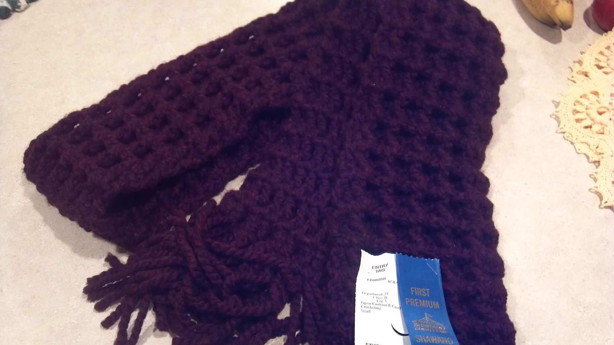 Waffle stitch Scarf... another 1st place.