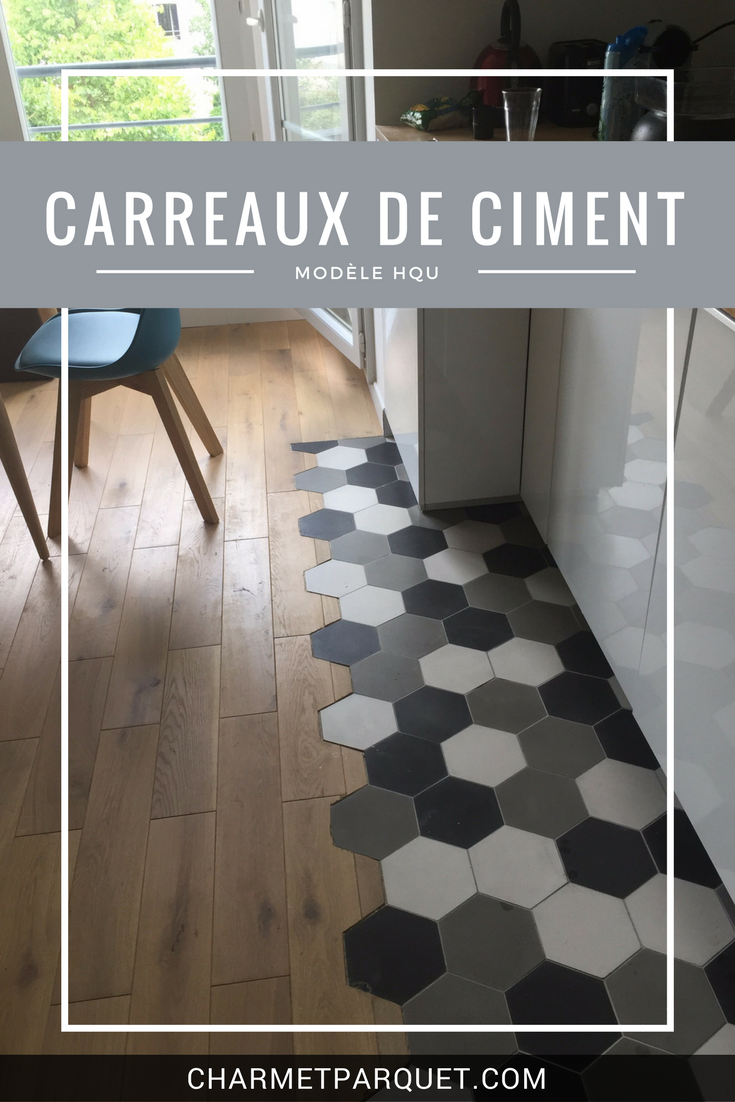 carreaux de ciment hexagonaux dans une cuisine mod les hqu 01 gris fonc 07 blanc lin. Black Bedroom Furniture Sets. Home Design Ideas
