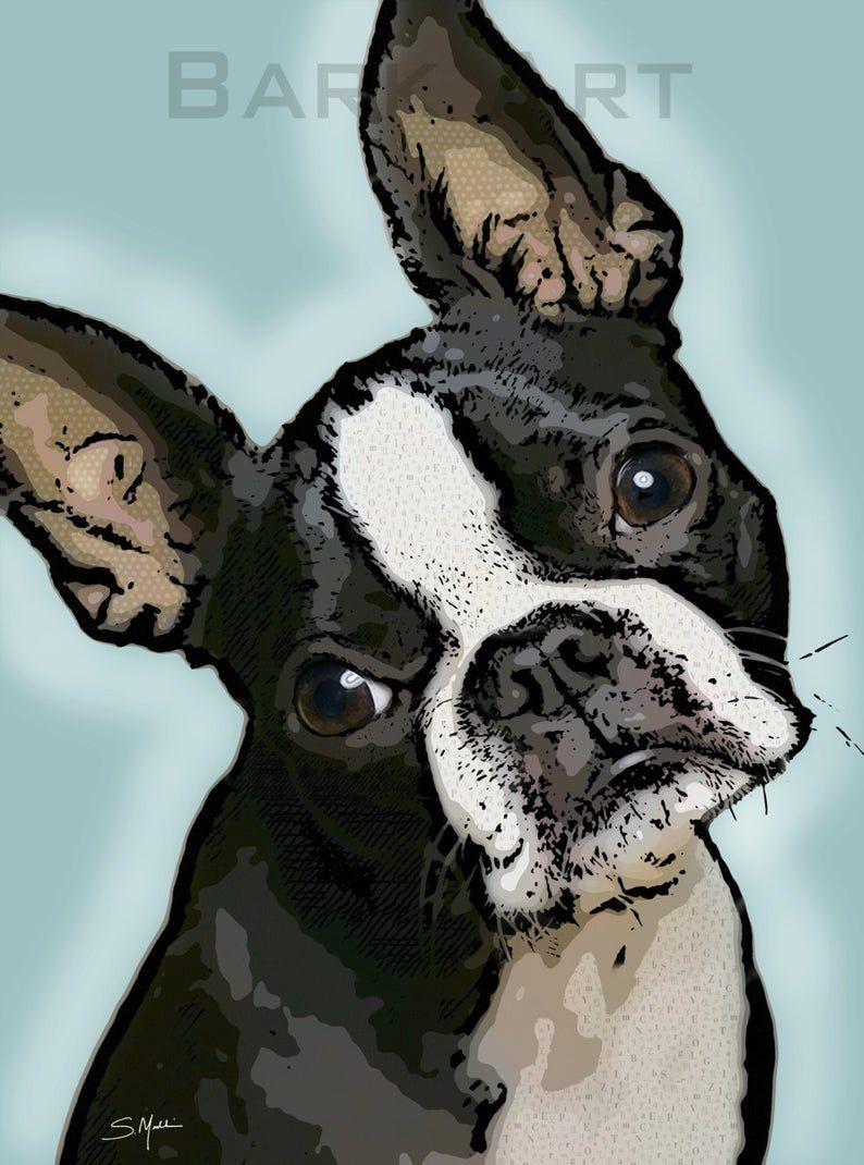 Black and white boston terrier dog digital pop art print