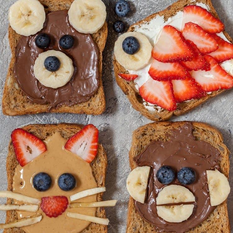 Tostadas Decoradas Como Animalitos Ricas Saludables Y Divertidas Mundo Gaturro En F Alimentos Divertidos Para Ninos Desayuno Para Ninos Recetas Divertidas