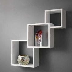 repisa o estanteria flotante en madera lacada ref diamante en