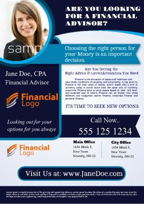 Financial Adviser Flyer perfect for product promotion and profile - free profile templates