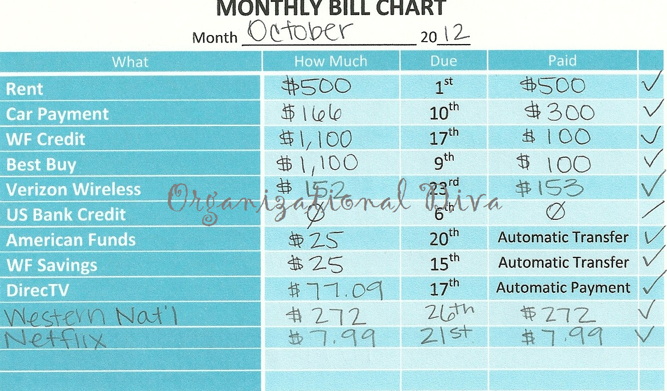 Monthly Bill Chart I Love How This Is Laid Out From Organizationaldiva Blogspot Com Bill Calendar Monthly Bill Budget Chart