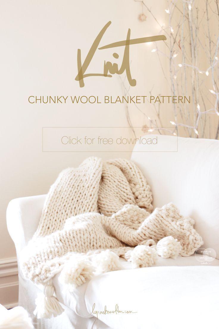 FREE Chunky Knit Blanket Pattern with tassels !   Tejido