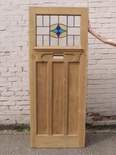 Ext 117 1930s Reclaimed Exterior Front Door With Stained Glass Blue