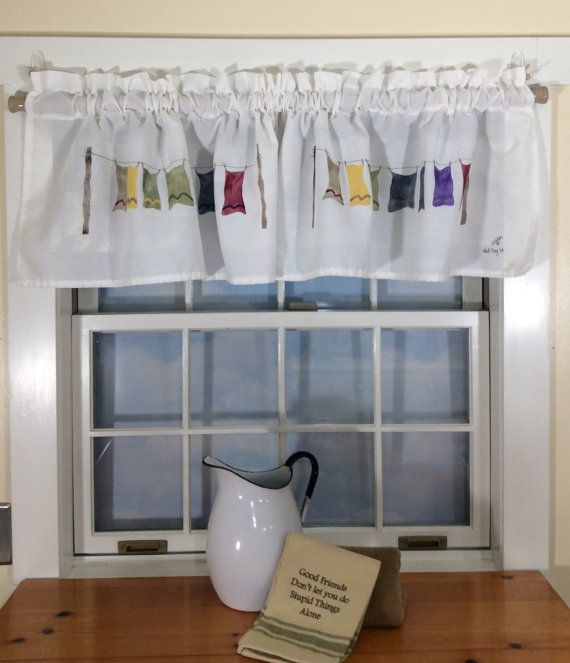My Wash Day Valance As With All My Window Valances They Are Hand Made Hand Painted And Machine Washable Using Only A U Valance Window Valance Laundry Room