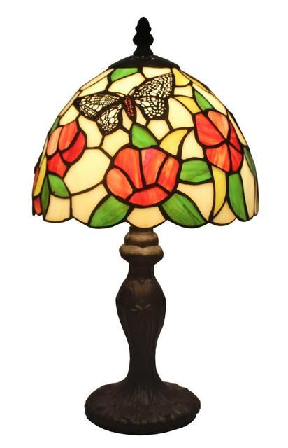 Tiffany Style Flowers And Butterflies Design 14 5 Inch Table Lamp