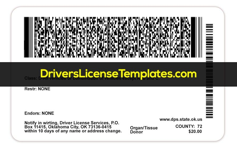 Oklahoma Drivers License Template Psd In 2020 Id Card Template