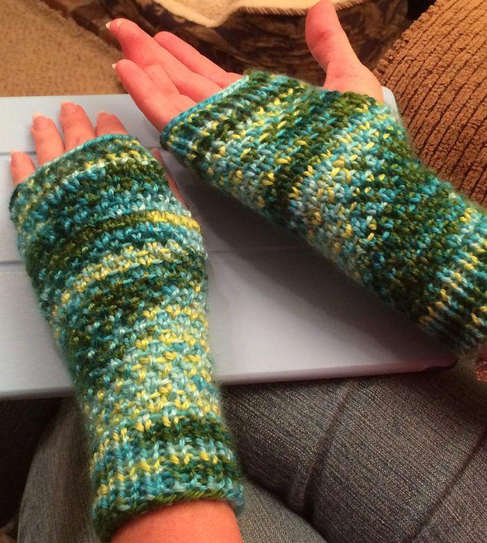 Free Knitting Pattern For Easy Half Linen Cozies Fingerless Mitts