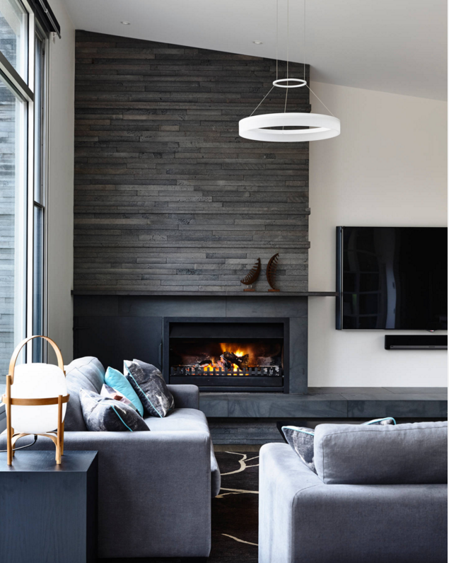 fireplace & tv--dark tiles and hearth