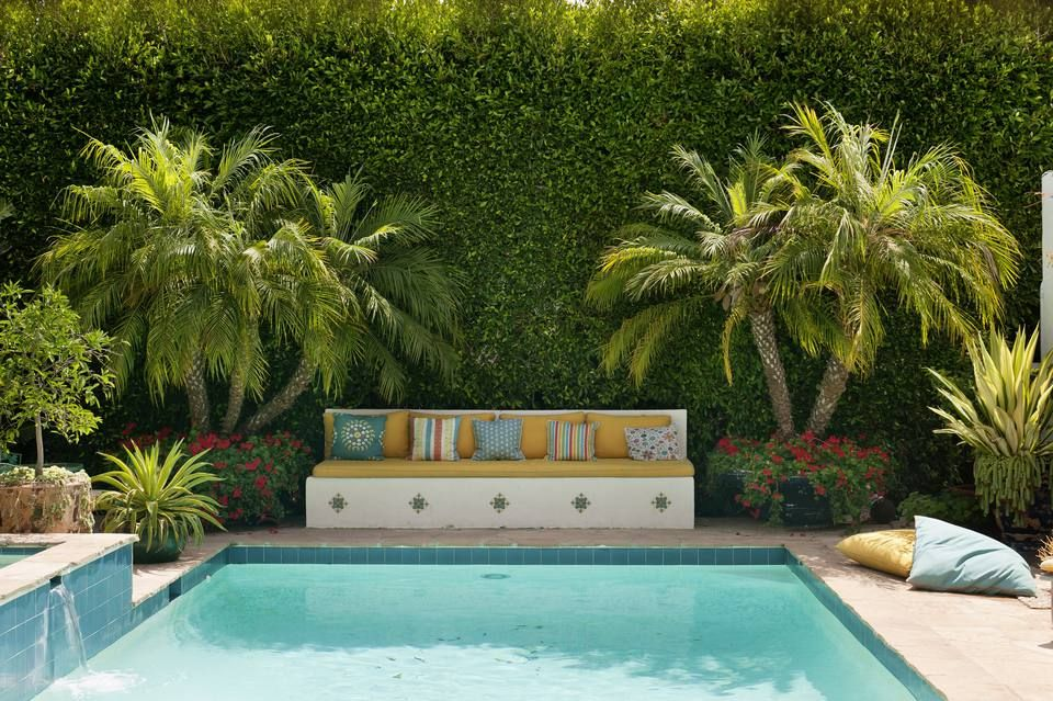 Try These 23 Beautiful Mediterranean Pool Designs Tropical Pool Landscaping Plants Around Pool Pool Plants