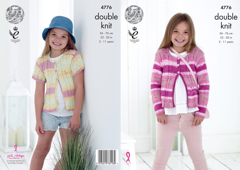 King Cole 4776 Knitting pattern girls cardigans in Cottonsoft DK ...