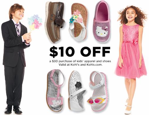 Kohl's: New $10 Off $30 Kids' Apparel
