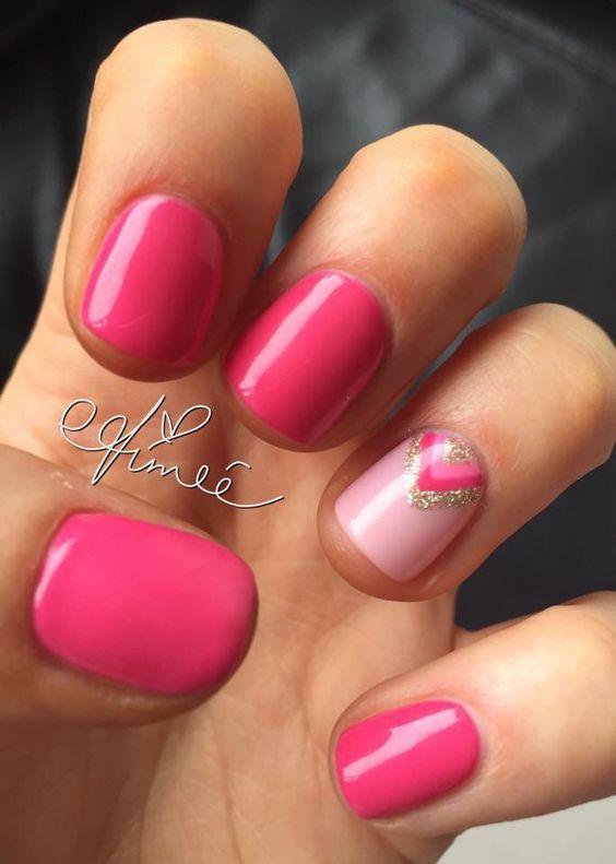 Summer gel nails, pink nails