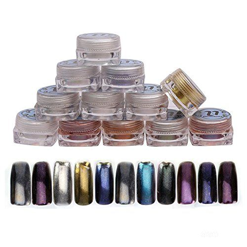 Blueness Mirror Powder Mix Color 12 Boxes 2g Pigment Powder Chrome