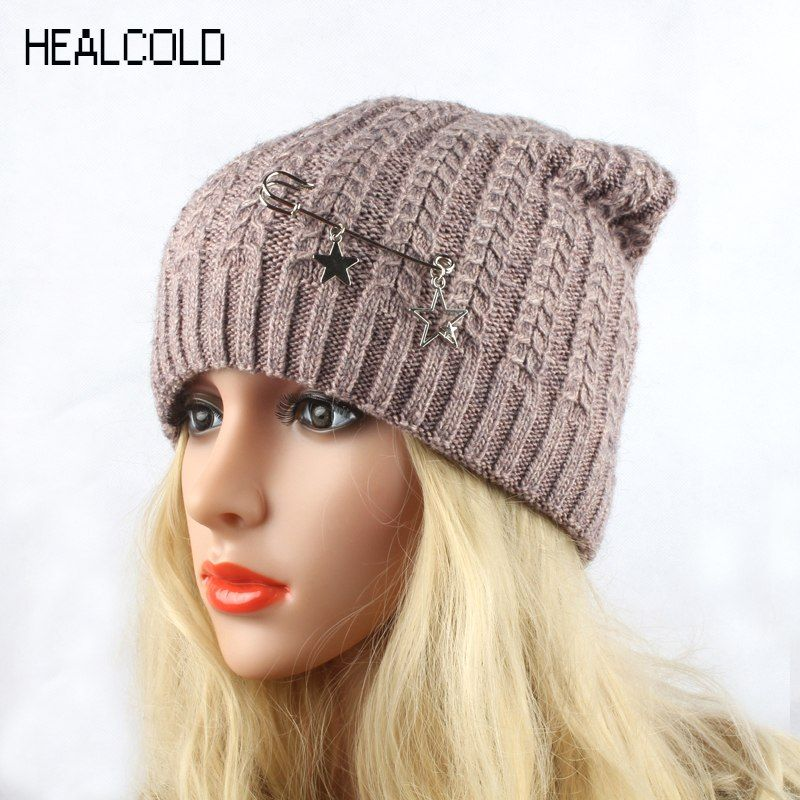 HEALCOLD 2018 New Fashion Knitted Hat Women s Winter Wool Cap Female  Beanies Skullies f177e49b0e2