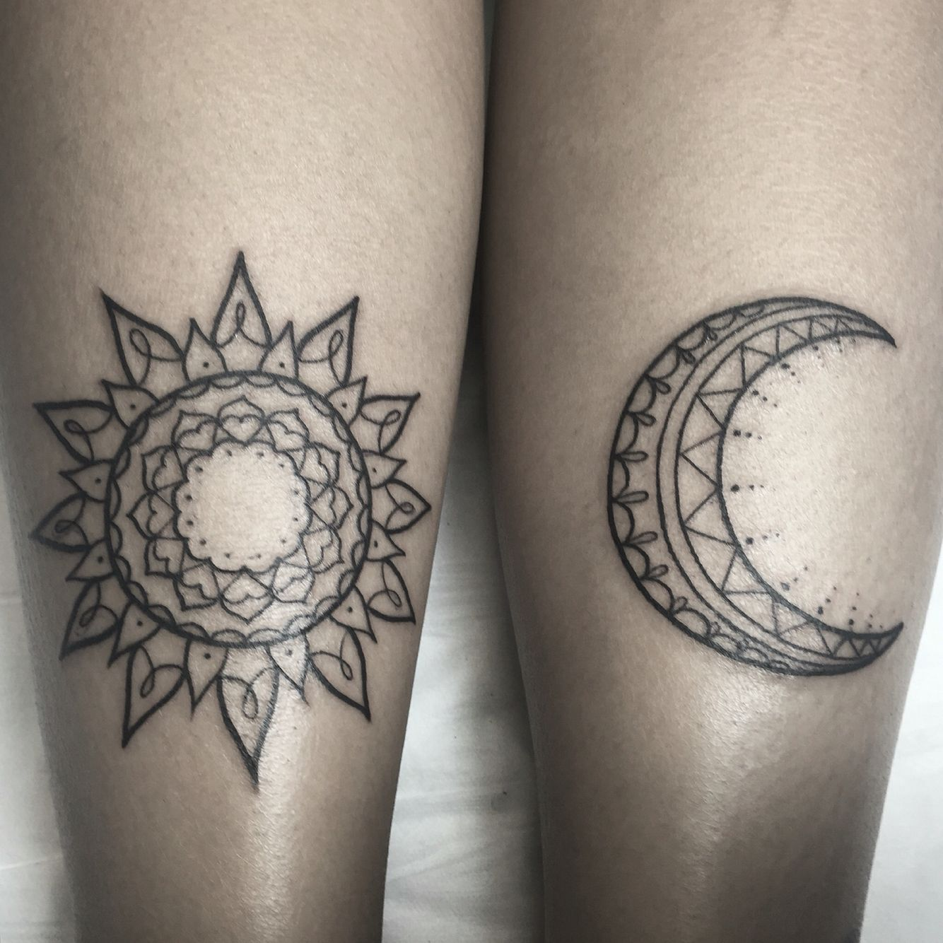 sun and moon tattoo by courtney dunne instagram courtneydunne tattoo tattoos pinterest. Black Bedroom Furniture Sets. Home Design Ideas